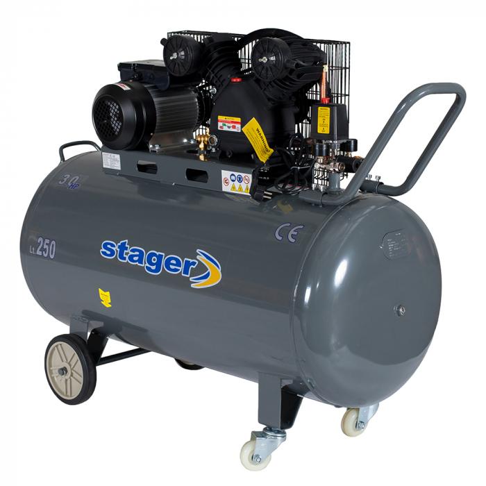Stager HMV0.25/250 compresor aer, 250L, 8bar, 250L/min, monofazat, angrenare curea 0
