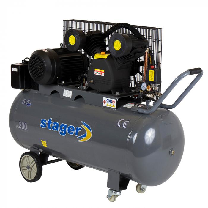 Stager HMV0.6/200 compresor aer, 200L, 8bar, 600L/min, trifazat, angrenare curea 0