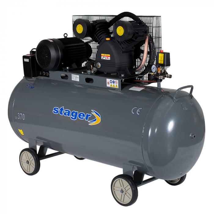 Compresor aer Stager HMV0.6/370, 370L, 8bar, 600L/min, trifazat, angrenare curea 0