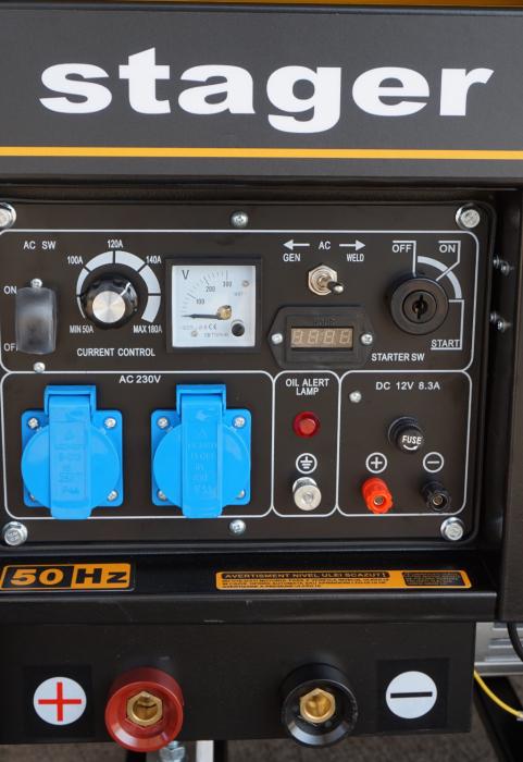 Stager YDE8500EW Generator sudare diesel monofazat, 2kVA curent sudare 200A, pornire la cheie 0