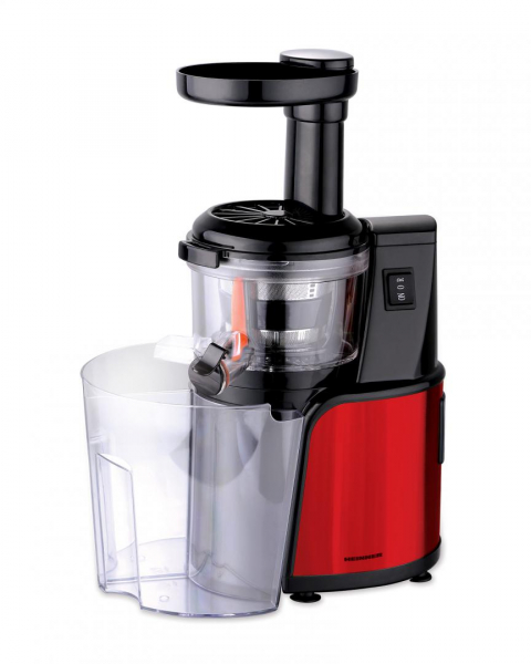 Storcator de fructe cu melc Heinner HSJ-600RD, 150 W, 80 Rpm, functie reverse, Rosu/Inox 0