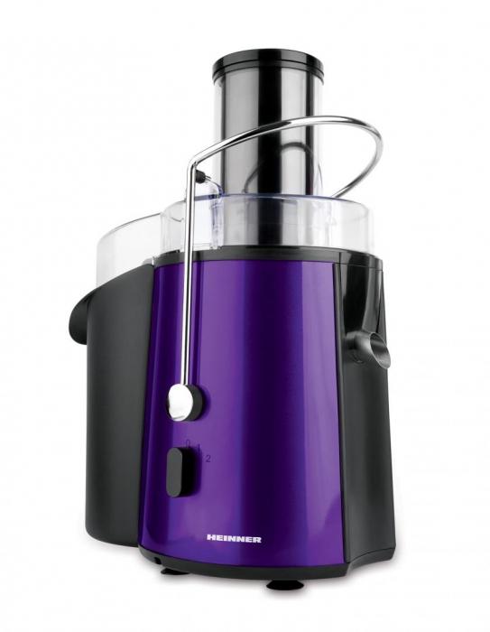 Storcator de fructe si legume Heinner XF-1000UV, 1000 W, Recipient suc 1 l, Recipient pulpa 2 l, 2 Viteze, Tub de alimentare 75 mm, Violet [0]