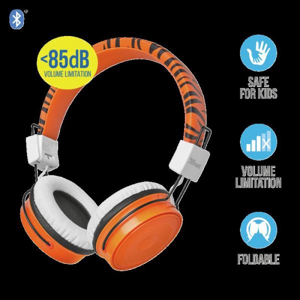 Trust Comi BT Kids Headphones - Orange 1