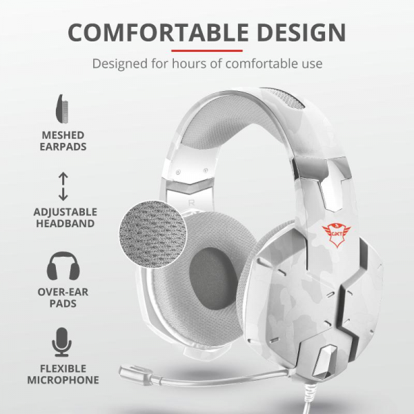 Casti gaming Trust GXT 322W, White camouflage 7