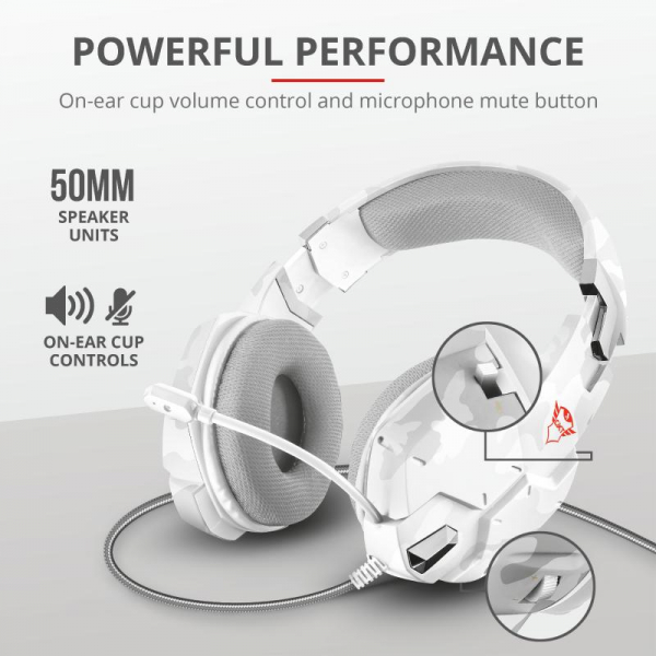 Casti gaming Trust GXT 322W, White camouflage 6