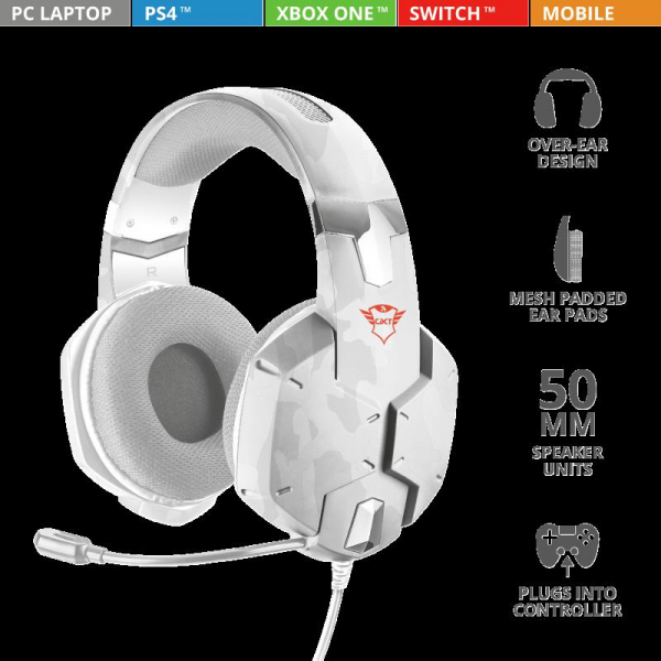 Casti gaming Trust GXT 322W, White camouflage 1