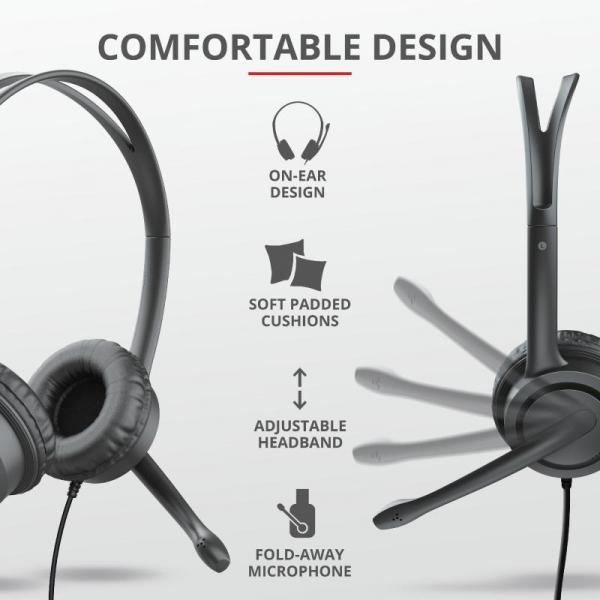 Casti cu microfon Trust Mauro USB Headset for PC and laptop 17591 3