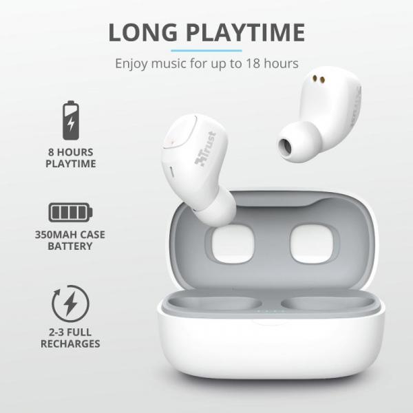 Trust Nika TWS Bluetooth Earphones White 11