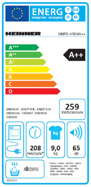 Uscator de rufe Heinner HHPD-V904A++, Pompa de caldura, 9 kg, 15 programe, Clasa A++, Display LED, Lumina cuva, Alb 5