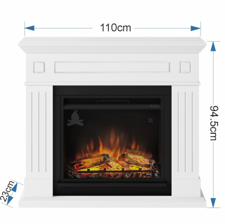 Semineu TAGU Larsen Pure White cu Focar Electric PowerFlame, 23 inch, FM462-WH1 + 23PF1A4