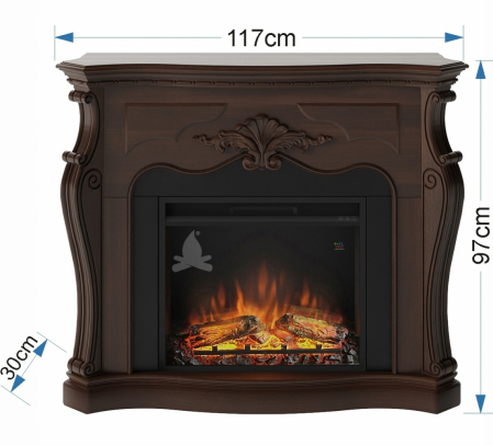 Semineu TAGU Gala Royal Walnut cu Focar Electric PowerFlame, 23 inch, FM465-WA2 + 23PF1A3