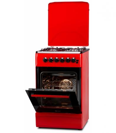 Aragaz LDK 5060 ECAI RED FR RMV LPG, 4 Arzatoare, Siguranta, Cuptor electric, Aprindere, Iluminare, Capac metalic, Rosu [0]