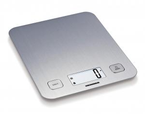 Cantar de bucatarie Heinner HKS-5IX, 5 Kg, 1 g, tara, functie cantarire lichide, display LCD, Inox0