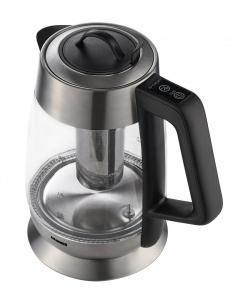 Fierbator cu filtru de ceai Heinner HEK-TF18GX, 1.8 L, 5 setari temperatura, iluminare colorata, control touch, element inox, oprire automata, Inox/Sticla1