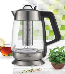 Fierbator cu filtru de ceai Heinner HEK-TF18GX, 1.8 L, 5 setari temperatura, iluminare colorata, control touch, element inox, oprire automata, Inox/Sticla2