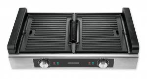 Gratar electric Heinner HSEG-1800SS, 1800 W, functie filtrare fum, 2 placi reversibile antiadezive, temperatura reglabila, Inox1