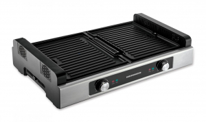 Gratar electric Heinner HSEG-1800SS, 1800 W, functie filtrare fum, 2 placi reversibile antiadezive, temperatura reglabila, Inox0