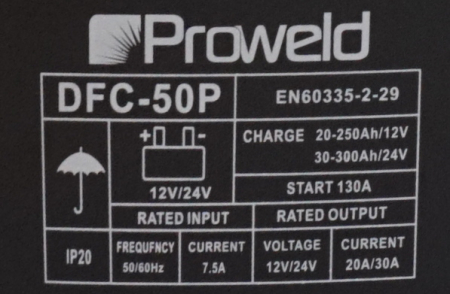 ProWELD DFC-50P redresor acumulatori 12V/24V, functie Start0