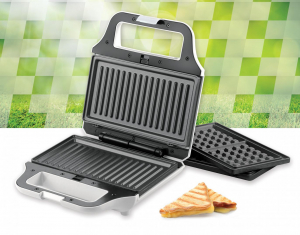 Sandwich maker Heinner SM-2H700WH, 700 W, 2 placi detasabile antiadezve: waffle, grill, Alb3