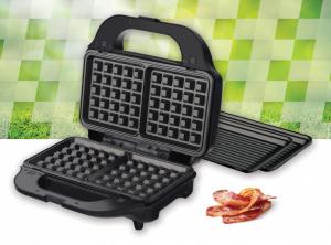 Sandwich maker Heinner SM-2H900BKS, 900 W, placi XL, 2 placi detasabile antiadezive: waffle, grill, Negru/Rosu3