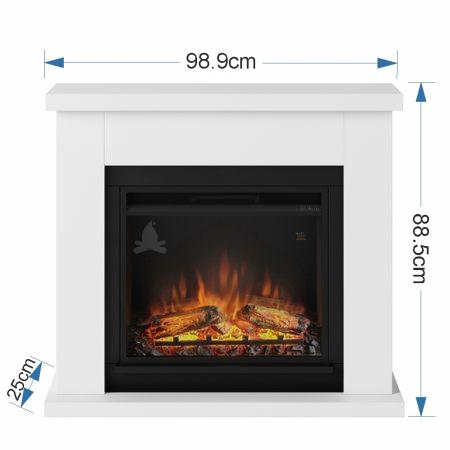 Semineu TAGU Frode Pure White cu Focar Electric PowerFlame, 23 inch, FM461-WH1 + 23PF1A4