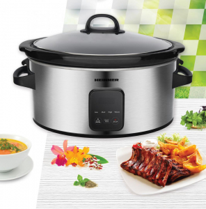 Slow cooker Heinner HSCK-C57IXBK, 220 W, 5.7 L, vas ceramic, display LED, timer si 3 setari temperatura, Inox2