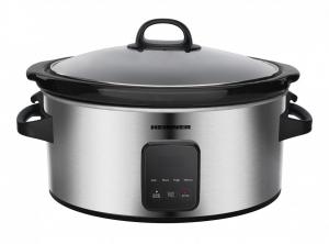 Slow cooker Heinner HSCK-C57IXBK, 220 W, 5.7 L, vas ceramic, display LED, timer si 3 setari temperatura, Inox0
