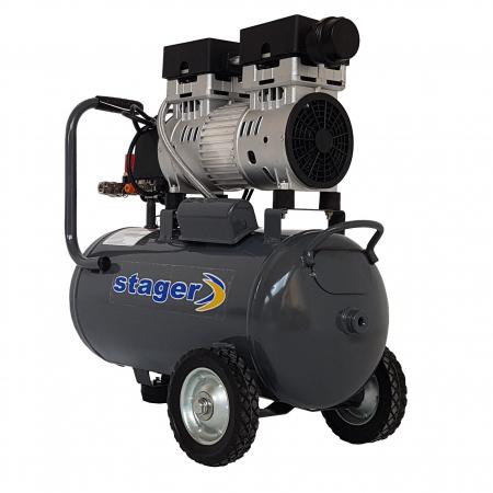 Stager HM0.75JW/24 compresor aer, 24L, 8bar, 165 L/min, monofazat, angrenare directa, silentios0