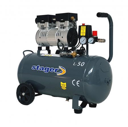 Stager HM0.75JW/50 compresor aer, 50L, 8bar, 165L/min, monofazat, angrenare directa, silentios0