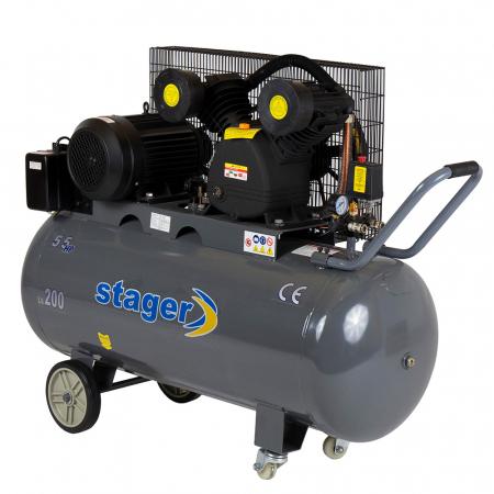 Stager HMV0.6/200 compresor aer, 200L, 8bar, 600L/min, trifazat, angrenare curea0