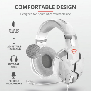 Casti gaming Trust GXT 322W, White camouflage7