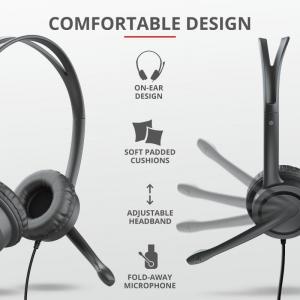 Casti cu microfon Trust Mauro USB Headset for PC and laptop 175913