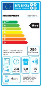 Uscator de rufe Heinner HHPD-V904A++, Pompa de caldura, 9 kg, 15 programe, Clasa A++, Display LED, Lumina cuva, Alb5