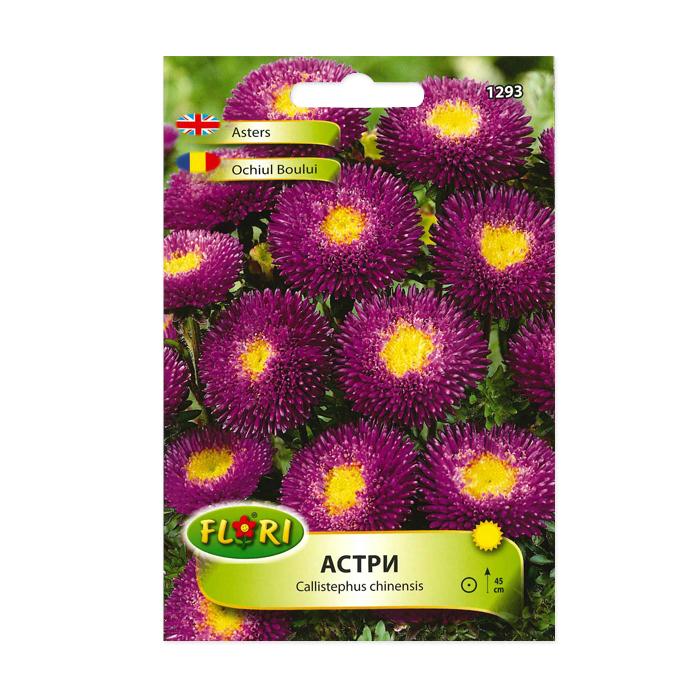 Seminte flori, Florian, Ochiul boului, pompon mov cu galben, 0.5 g 1