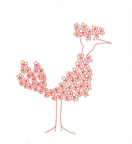 Servetel decorativ pasare din flori rosii 0