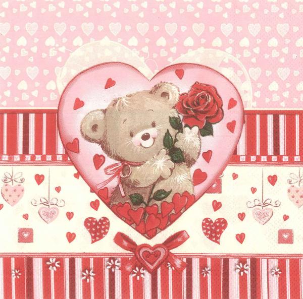 Servetel decorativ cu inimi si ursulet 1