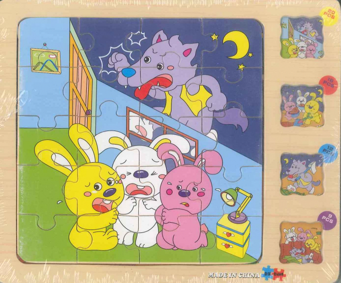 Puzzle lemn 9-12-18-20 piese iepuri 0