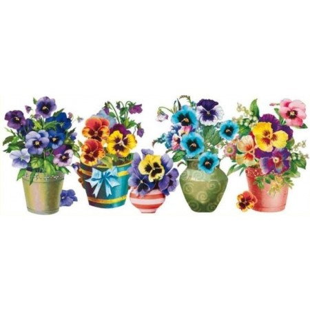 Sticker pentru geam, flori in vaze, 22.5 x 55 cm 0