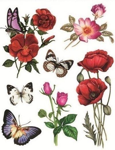 Autocolant static pentru fereastra - flori si fluturi, 30 x 38 cm [0]