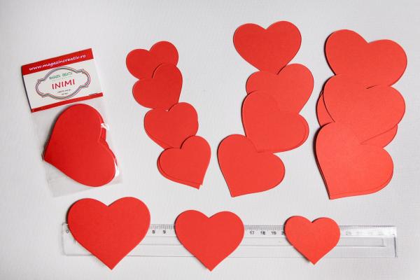 Set 30 inimi rosii din carton 0