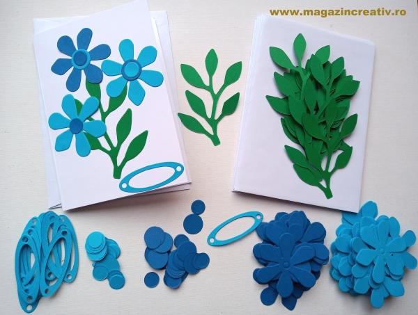 Set confectionare 20 felicitari cu flori albastre 0