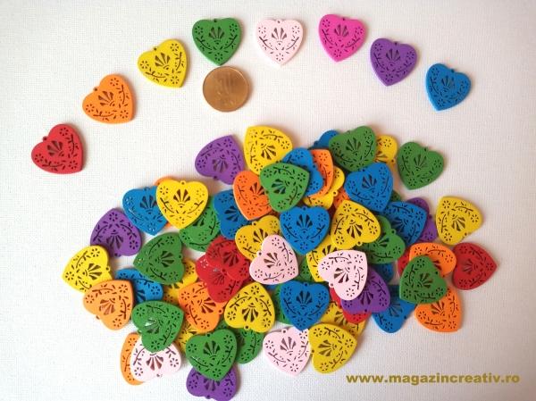 Figurine lemn - medalion inimă 0