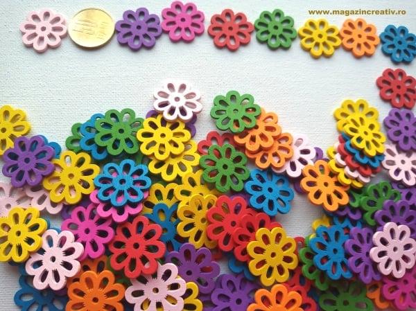 Figurine lemn - medalion flori multicolore 0