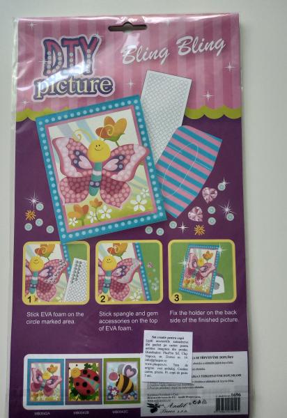 Set mozaic insecte cu flitter - fluture 1