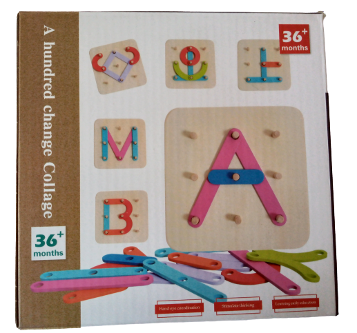 Joc lemn Formeaza litere si cifre 0