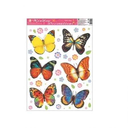 Autocolant static pentru fereastra 6 fluturi colorati 0