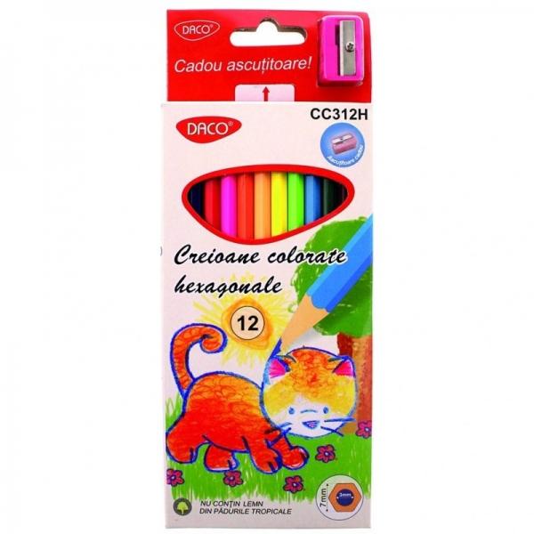 Creion color 12 culori hexagonal DACO [0]