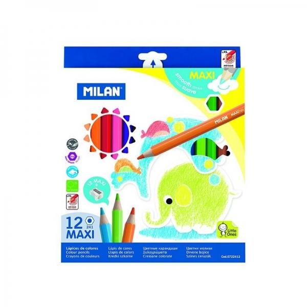 Creion color 12 culori MAXI hexagonal + ascuțitoare 0