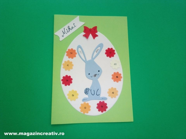 Felicitare cu iepure - set confecţionare 20 felicitări 2