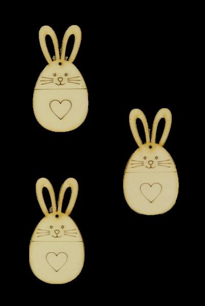 Figurine din lemn - iepuraș cu inimă (7 cm, 3 buc/set) 0